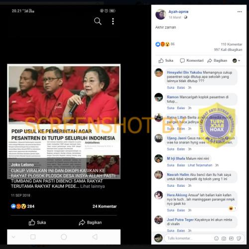 """[SALAH] """"PDIP USUL KE PEMERINTAH AGAR PESANTREN DI TUTUP SELURUH INDONESIA"""""""